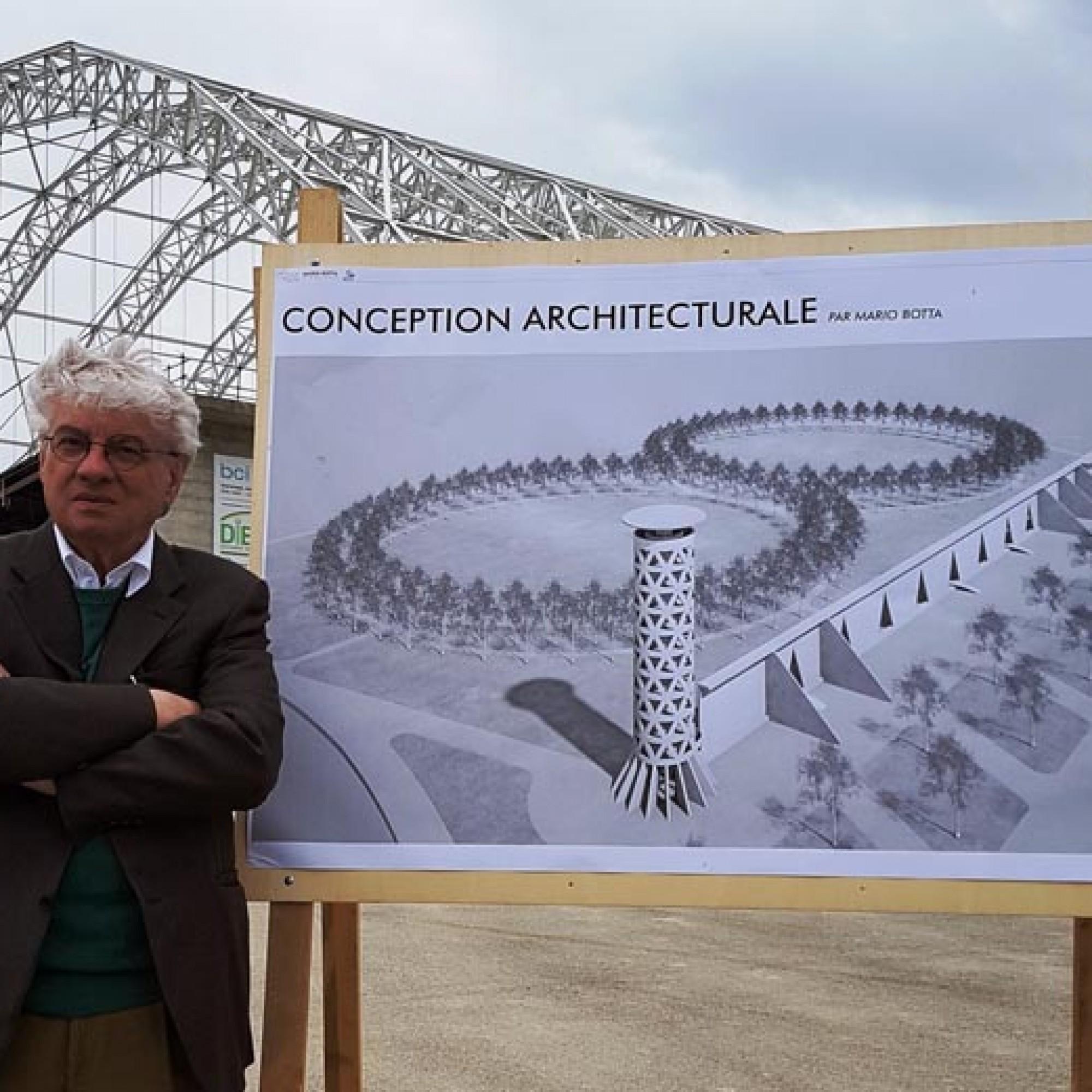 Mario Botta a présenté son projet de métamorphose de l'ancienne décharge chimique. Deux cercles de chênes permettront de recréer une forêt et une tour de 40 m offira une vue panoramique extraordinaire sur le paysage. Image 1 sur 4