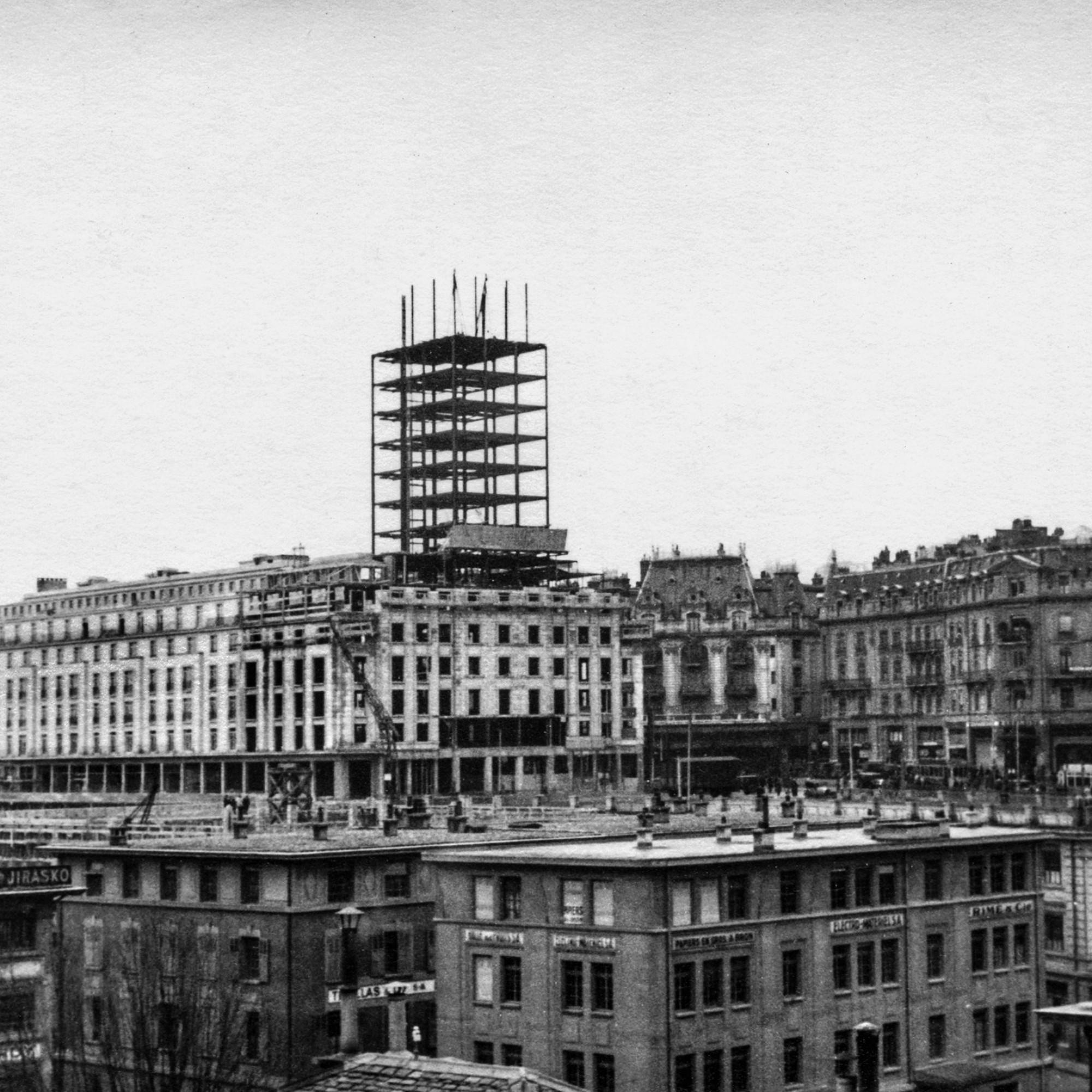 Construction tour Bel Air Métropole à Lausanne (1932)