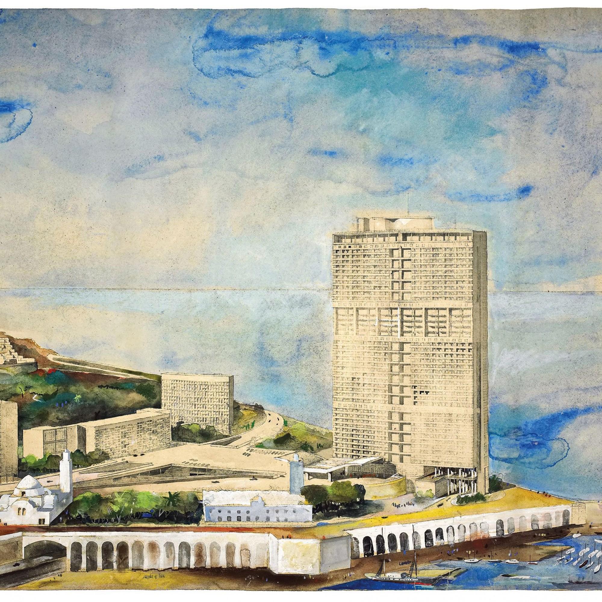 Le Corbusier. Projet de gratte-ciel pour le quartier de la Marine à Alger. (1938)