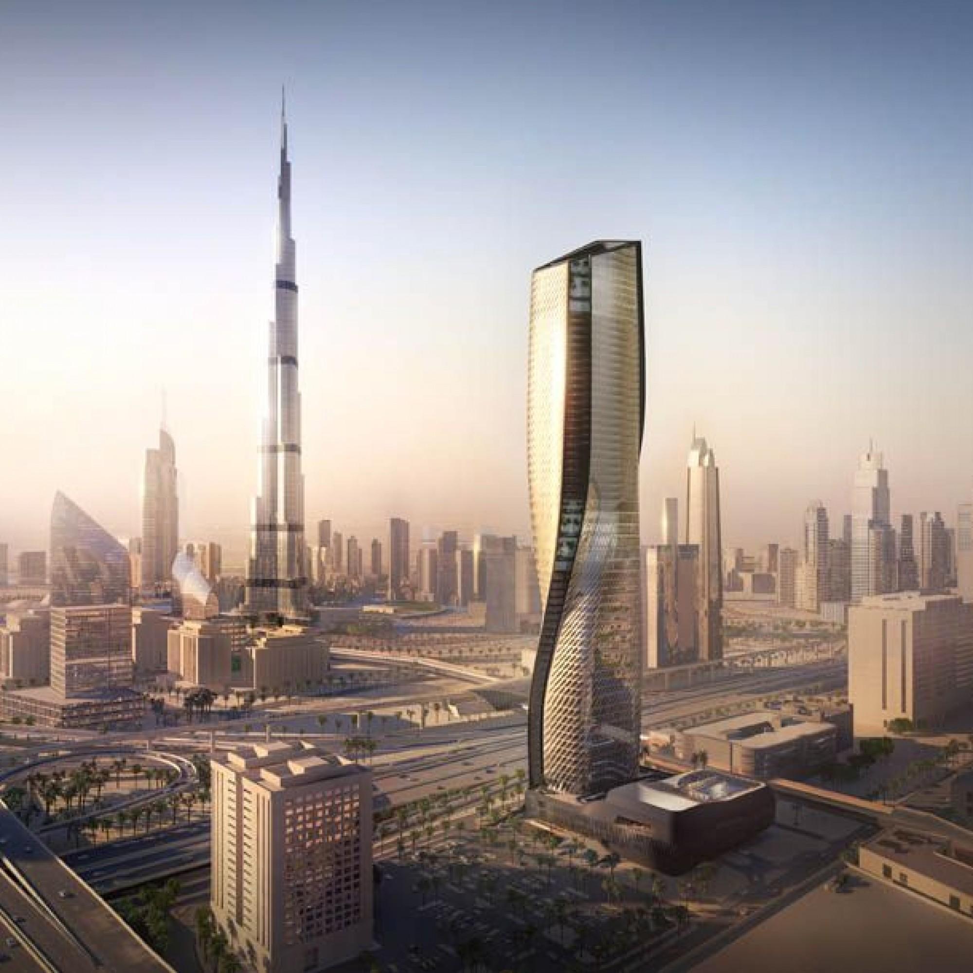 Wasl Tower à Dubai et sa façade céramique