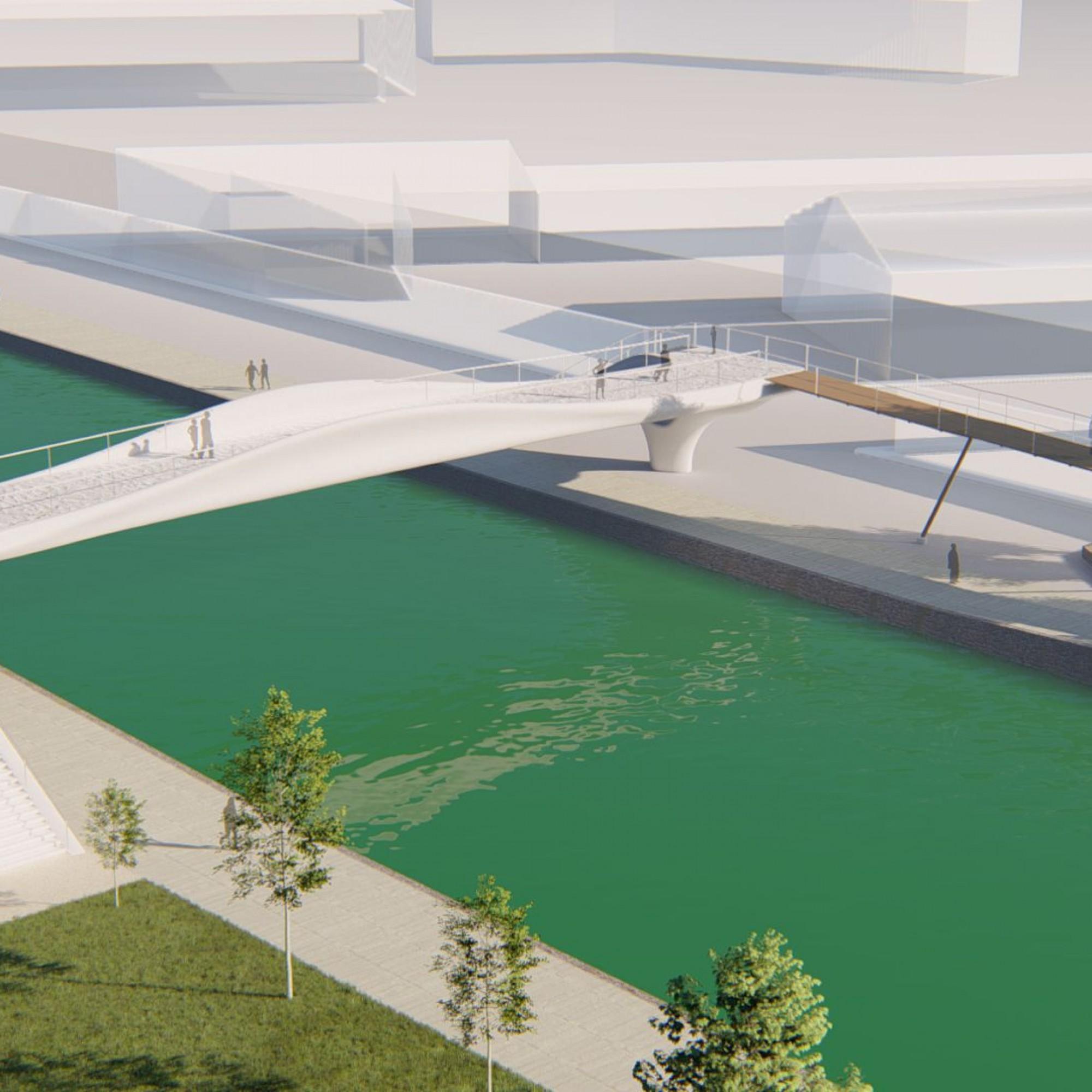 Paris construit le premier pont imprimé 3D béton du monde sur le canal Saint-Denis à Aubervilliers.