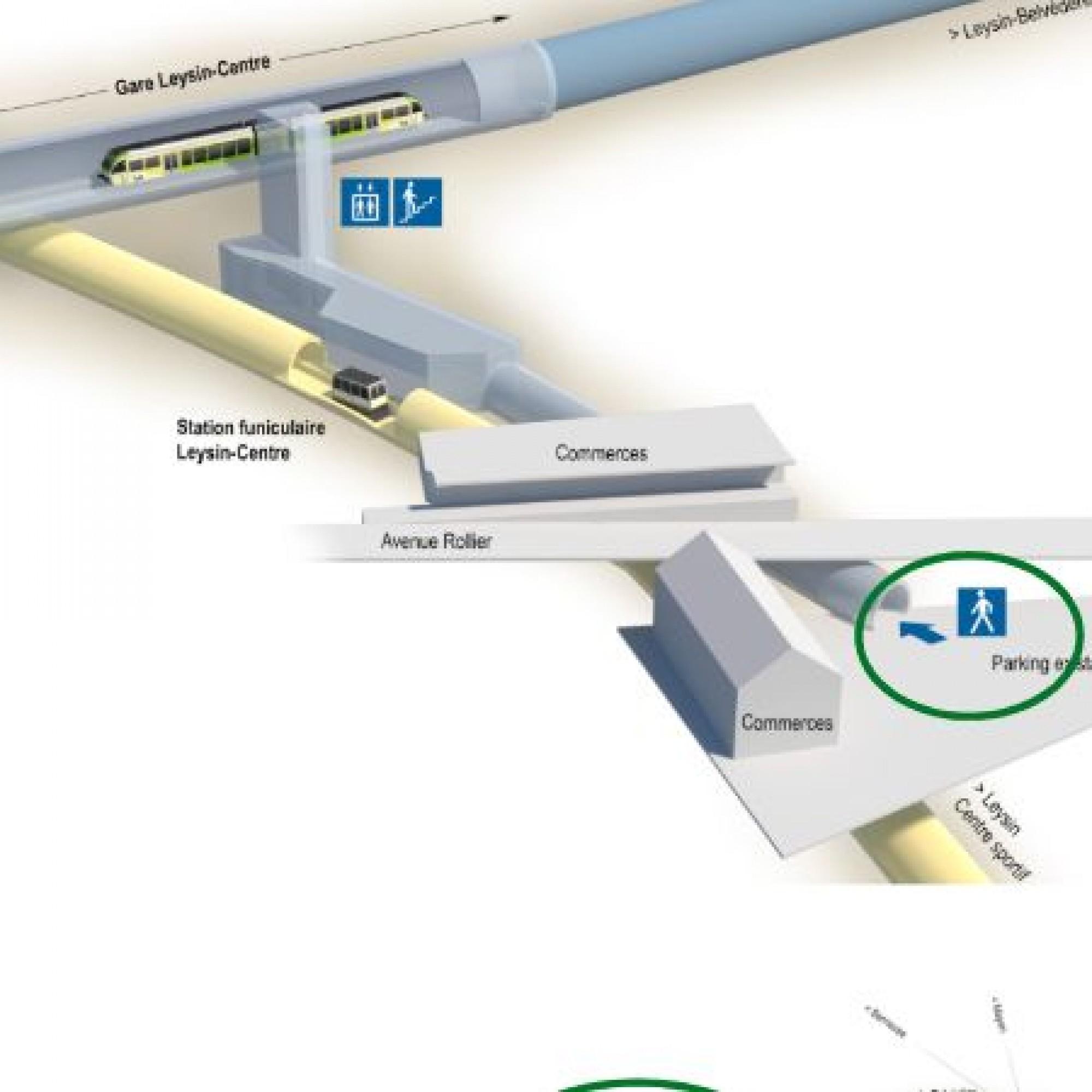 Jonction souterraine du train et du funiculaire, Leysin-Centre abritera aussi des commerces.