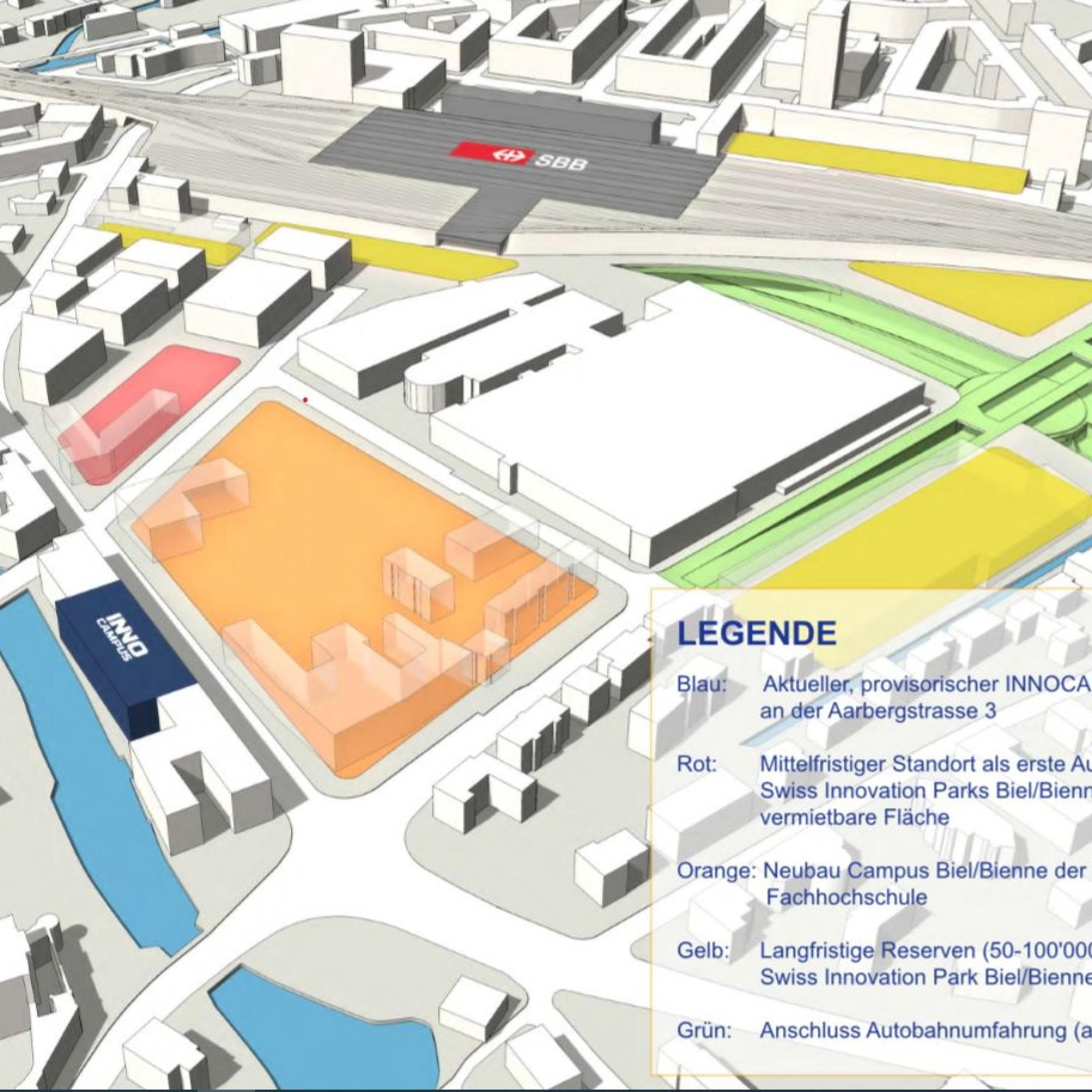 La zone en orange sera dévolue aux filières de formation de la Haute école spécialisée bernoise.