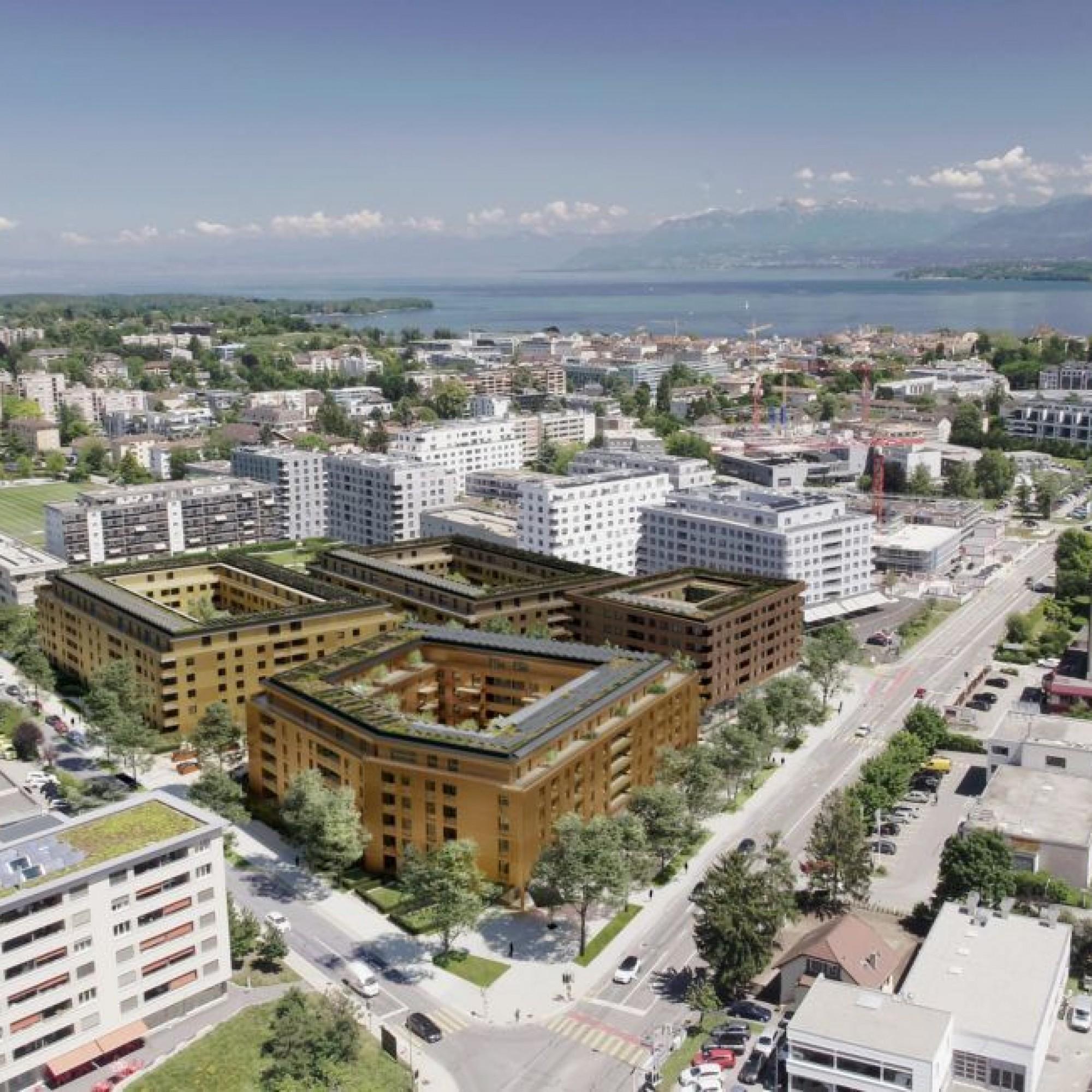 Le futur quartier se présentera avec quatre immeubles aménagés dans une espace paysager propice à la vie sociale.
