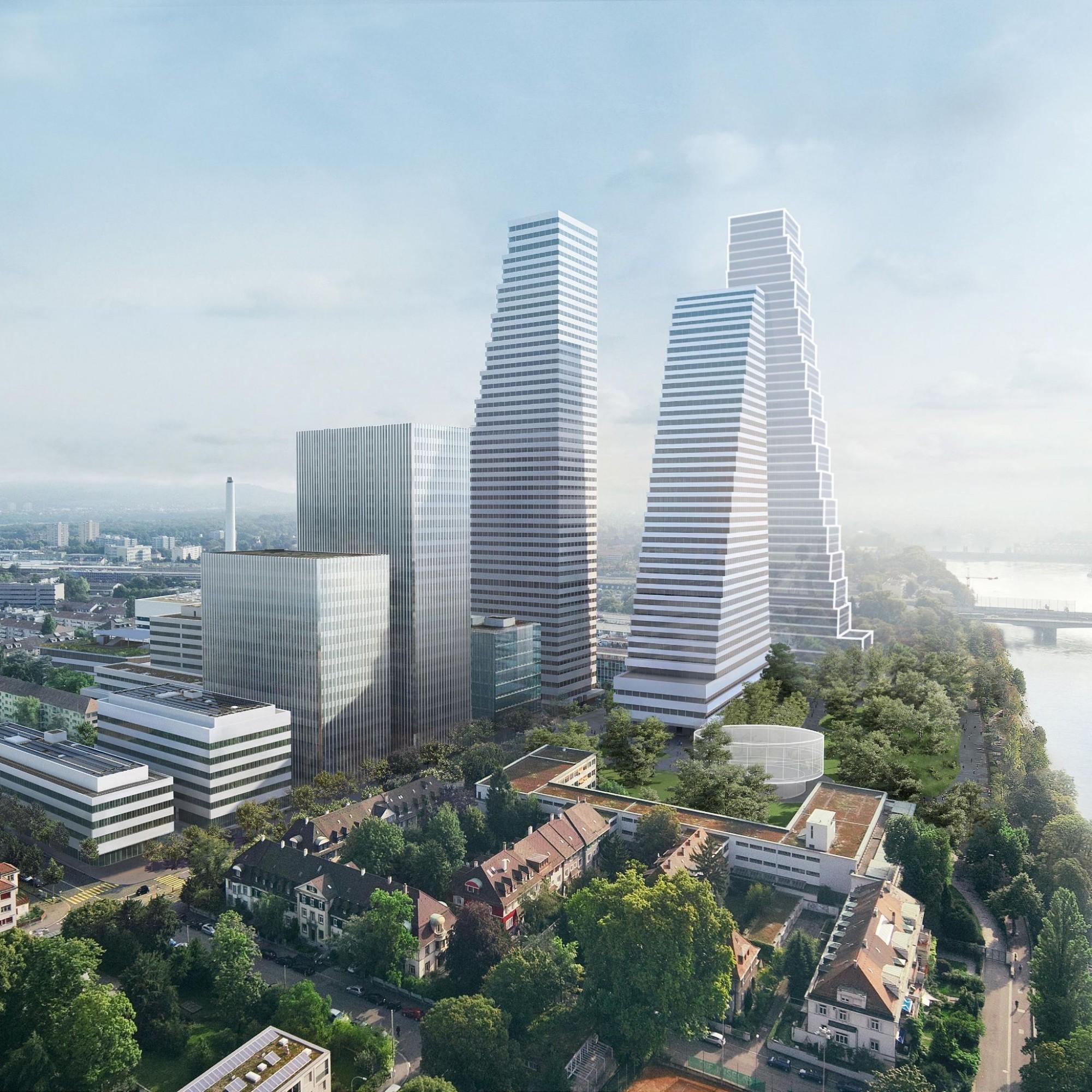 La troisième tour projetée par le groupe Roche (à droite au fond) limiterait l'emprise au sol des bâtiments de l'entreprise sur son site. Ce qui va de pair avec des démolitions d'immeubles.
