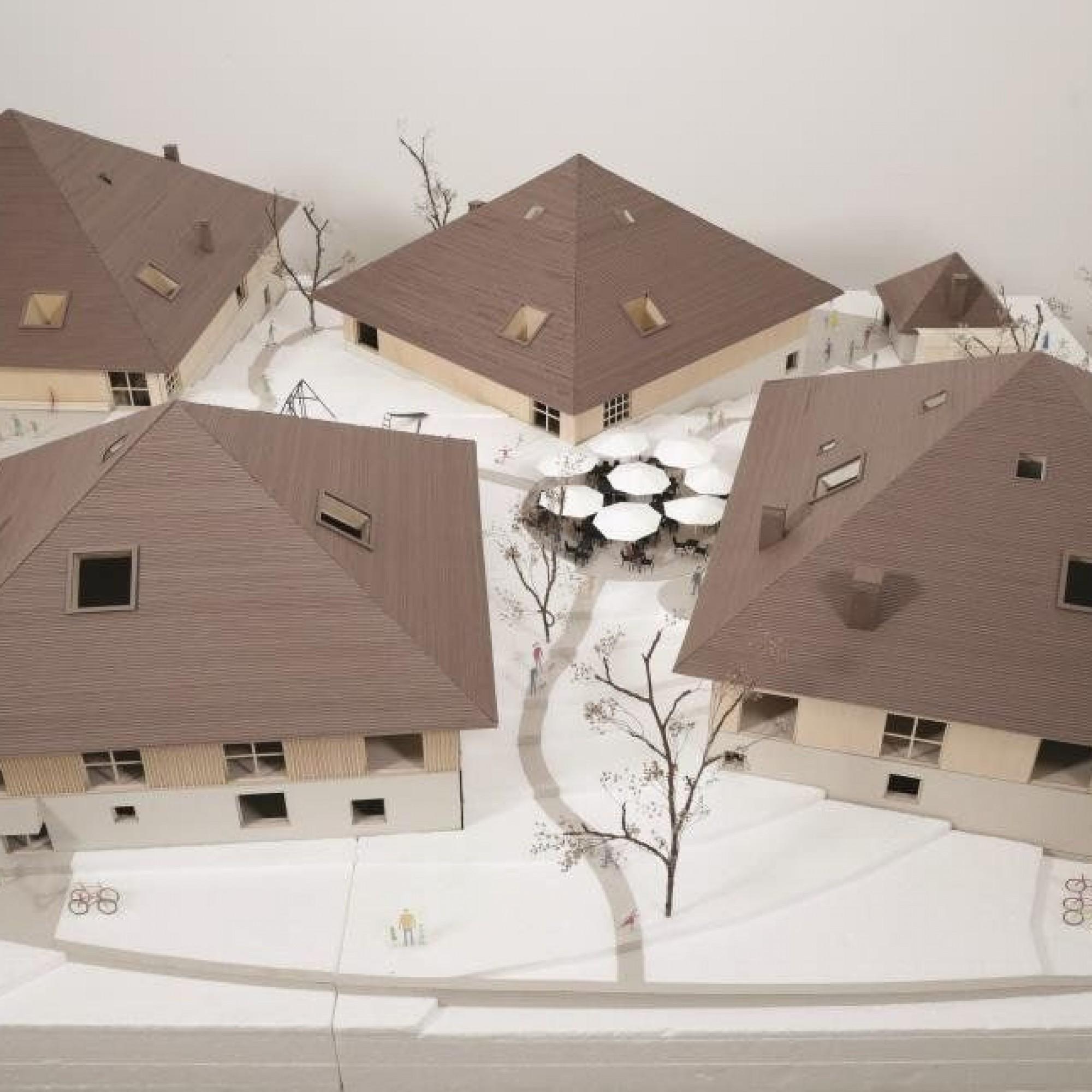 La future Maison de La Gruyère se présentera sous la forme de quatre pavillons dont la toiture sera habillée de tavillons de bois.