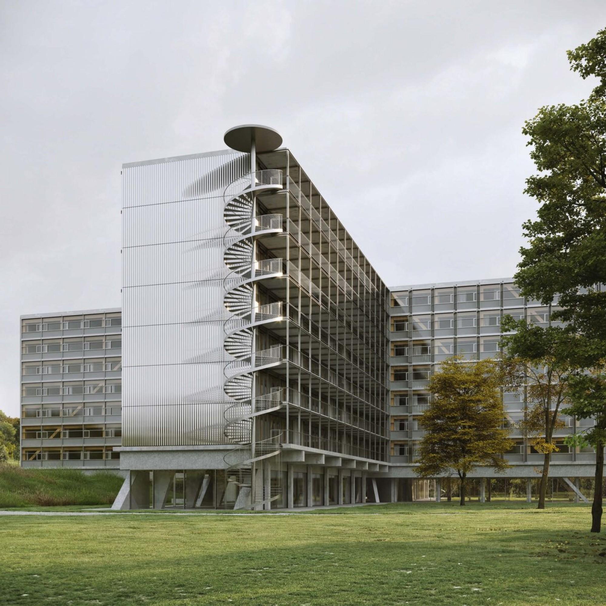 Ce futur bâtiment en forme de croix abritera les logements pour étudiants.