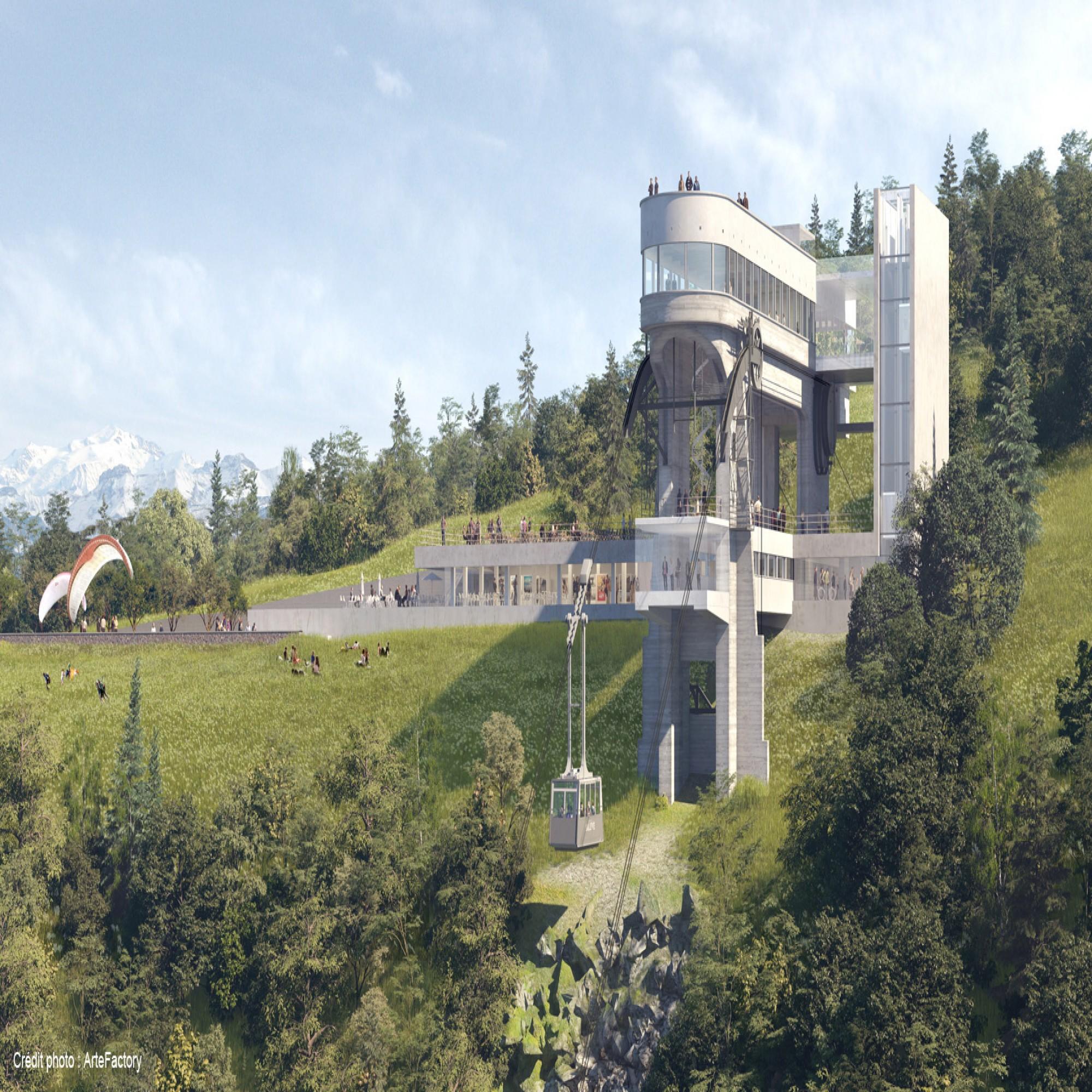Une terrasse viendra surplomber la nouvelle station d'arrivée du salève dévoilant une vue panoramique.