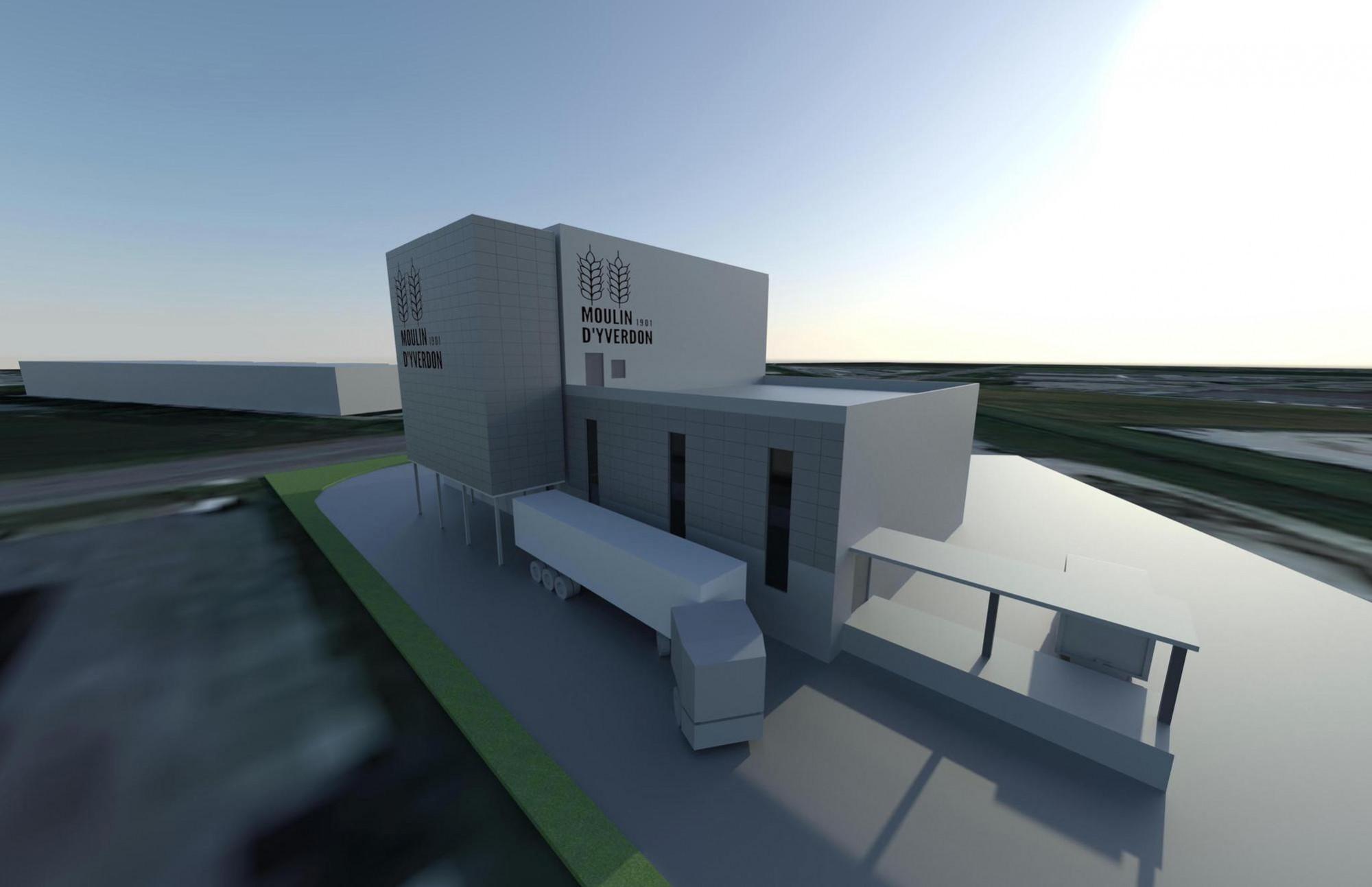 Les installations du prochain Moulin d'Yverdon occuperont une surface de 1000 m2. Elles seront composées d'une halle de production et d'une halle de stockage qui intègre le silo haut de 14 m.