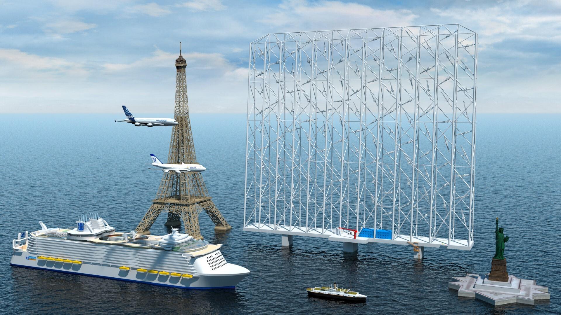 Le système «Wind Catching» se compose d'un grand cadre de 350 m de large avec plusieurs éoliennes fixé sur une plateforme en mer.