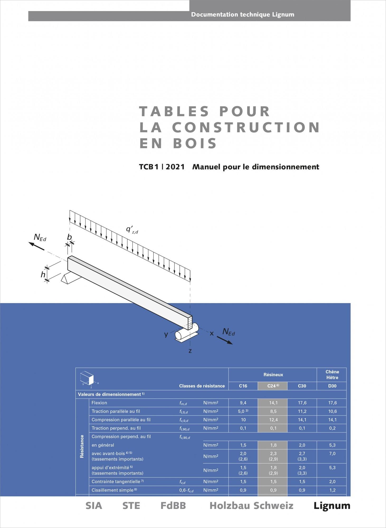 Tables pour la construction en bois , manuel pour le dimensionnement