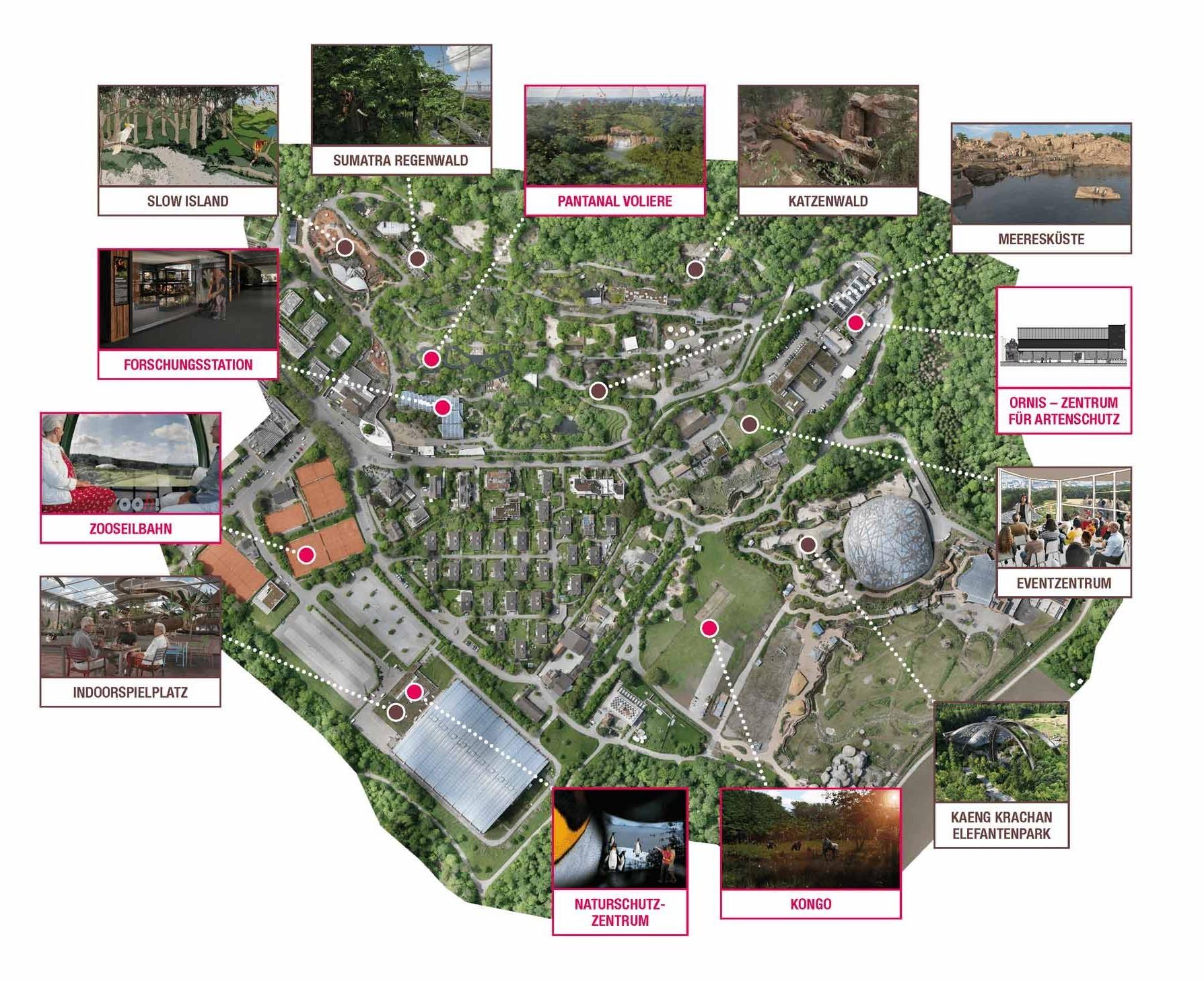 Les projets de construction en un coup d'œil. Les projets jusqu'en 2030 (en rouge) font déjà l'objet d'une planification concrète, les projets à partir de 2031 (en brun) sont en phase de conception étendue.