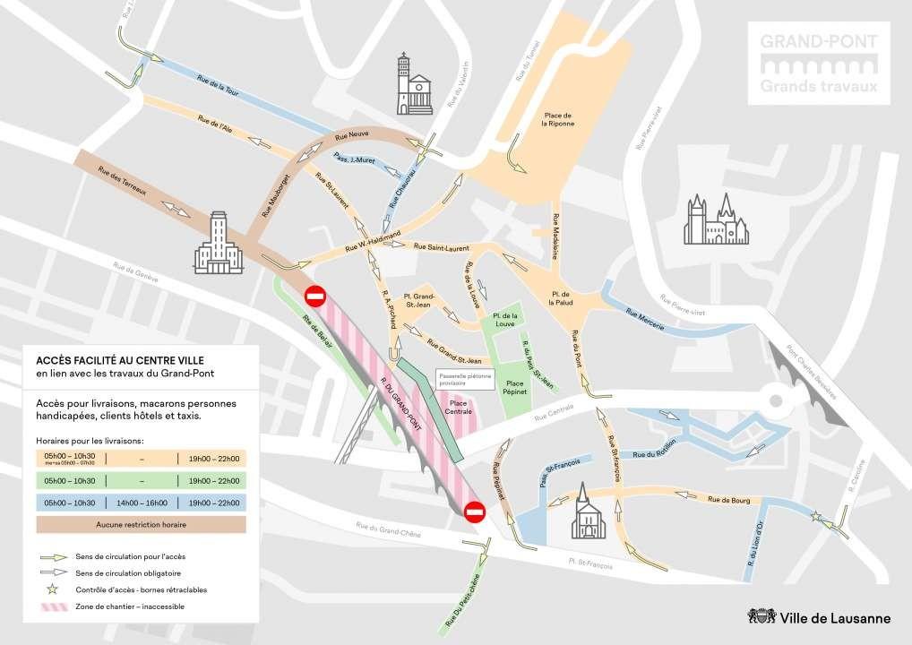 Plan d'accès au centre ville durant la rénovation du pont