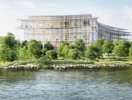 La banque Lombard Odier construit à Bellevue (GE) son nouveau siège, fait de colonnes enveloppées dans du verre.