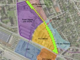 La future voie verte de Prilly offrira cinq points de rencontres et de détente sur une longueur de 600 m.