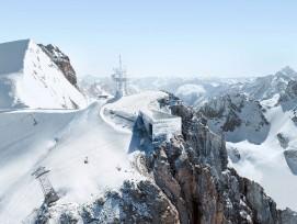 Visualisation du projet 3020 : la station de montagne s'impose sur la roche comme un cristal géant.